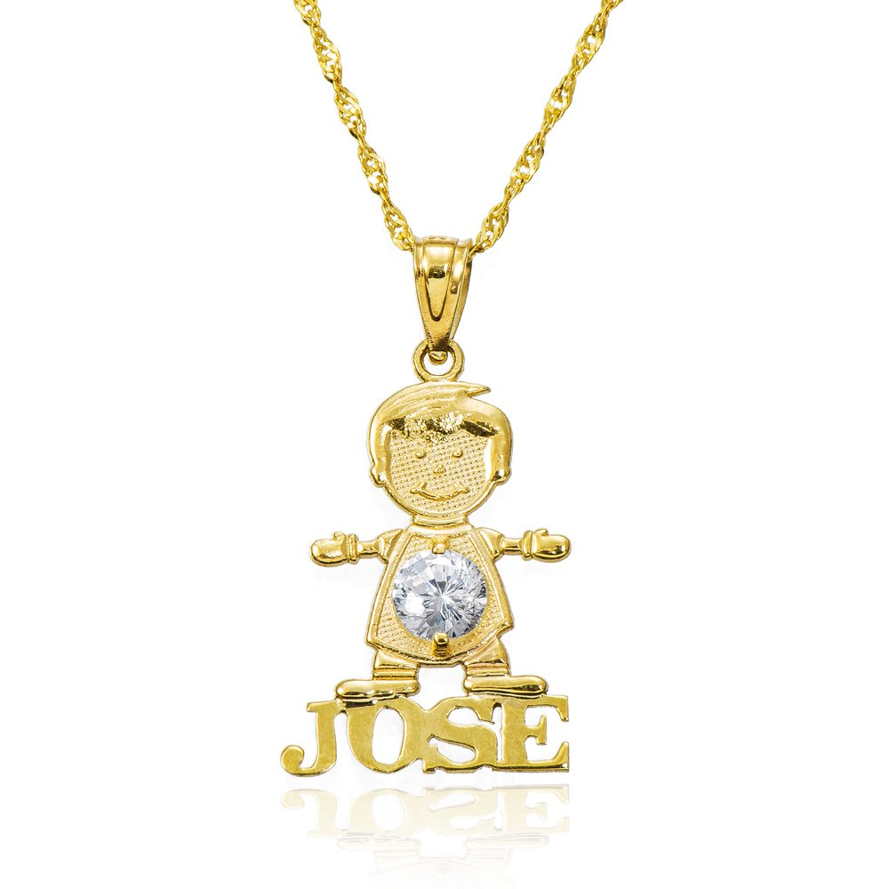 14k Yellow Gold Boy's Personalized Name Cubic Zirconia (CZ) Birthstone Necklace (12 Inches, Singapore)