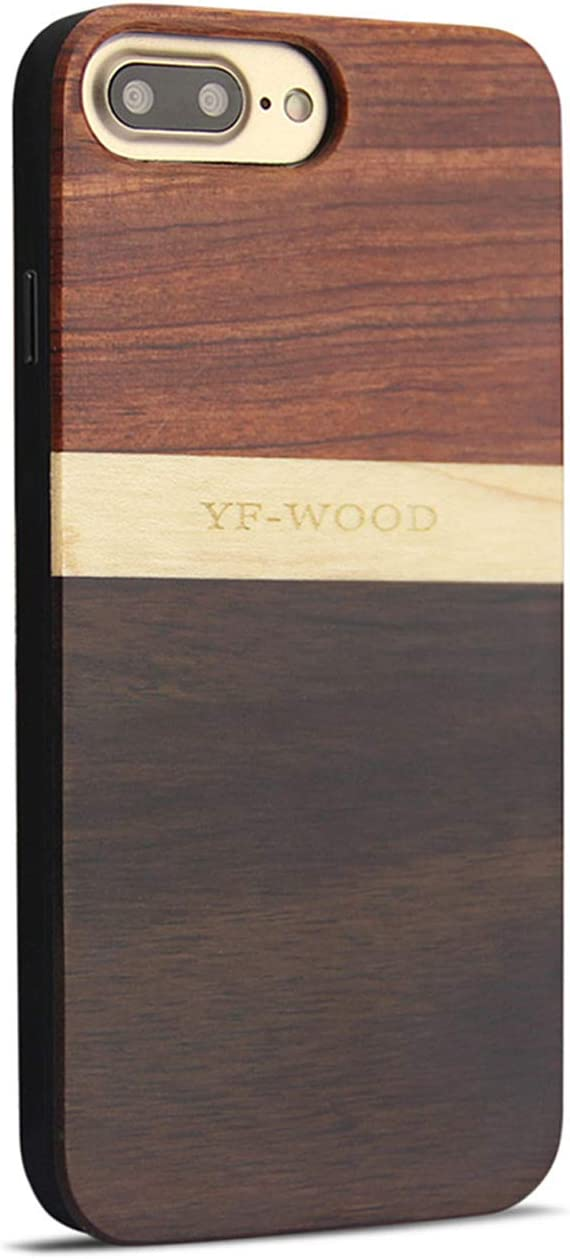 YFWOOD Compatible for iPhone 8 Plus Wooden Case, for iPhone 7 Plus Case, Unique Patented Shockproof Hybrid Slim Thin Rubber & Wooden Grain Case for Apple iPhone 7/8 Plus