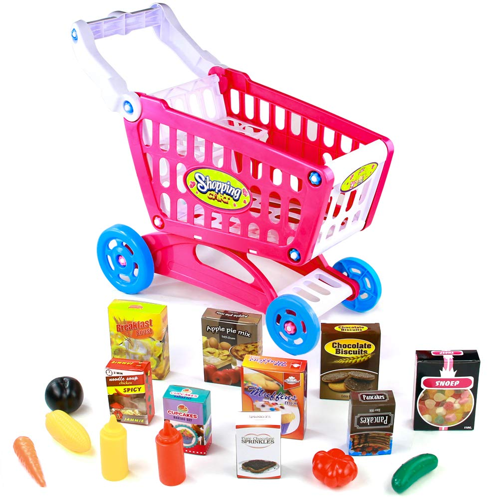 Fajiabao Shopping Cart with Wheels Pretend Play Food Kitchen Grocery Toys Plastic Pink Trolley Supermarket Playset for Kids Toddlers Boys Girls 3 4 5 6 Years Old by Fajiabao