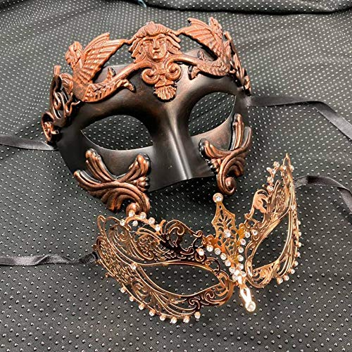 KB Rose Gold Bronze Roman Men Mask and Luxury Extravagant Women Mask Couple Mask Mardi Gras Venetian His & Her Mask Ball Masquerade Mask (Masquerade Mask For His And Her)