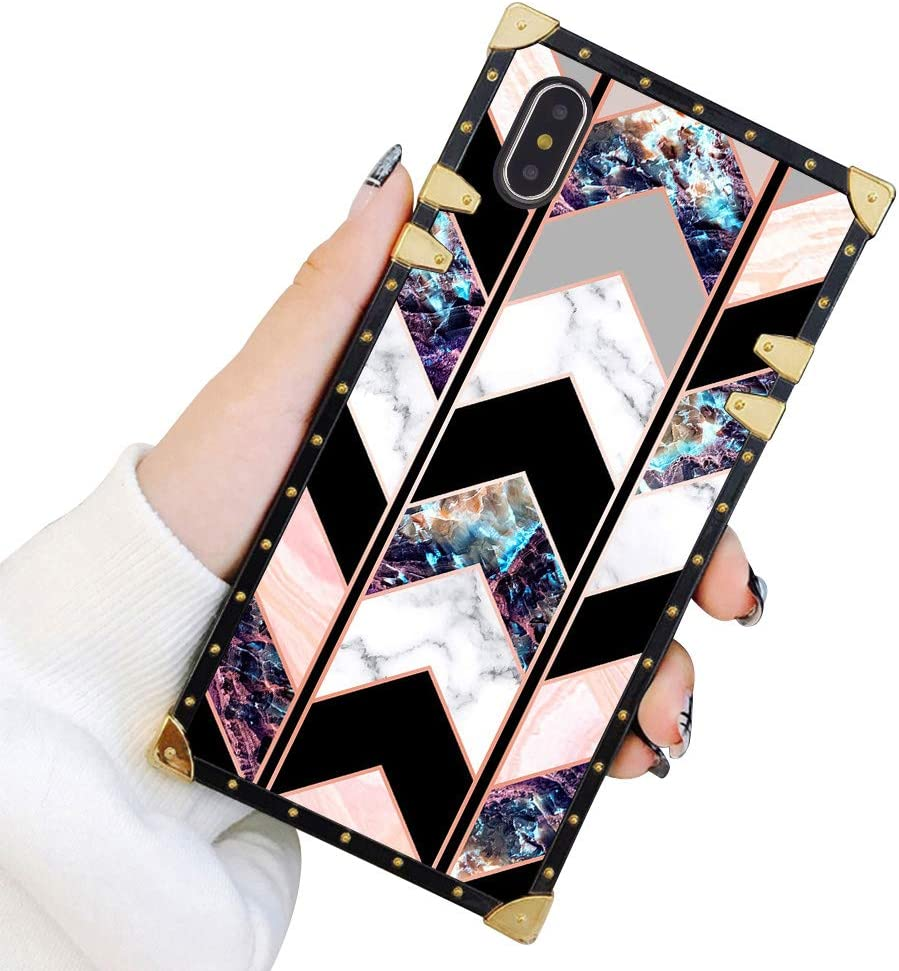 Square Case Compatible iPhone Xs Max Shiny Rose Gold Wave Geometric Marble Luxury Elegant Soft TPU Full Body Shockproof Protective Case Metal Decoration Corner Back Cover iPhone Xs Max Case 6.5 Inch
