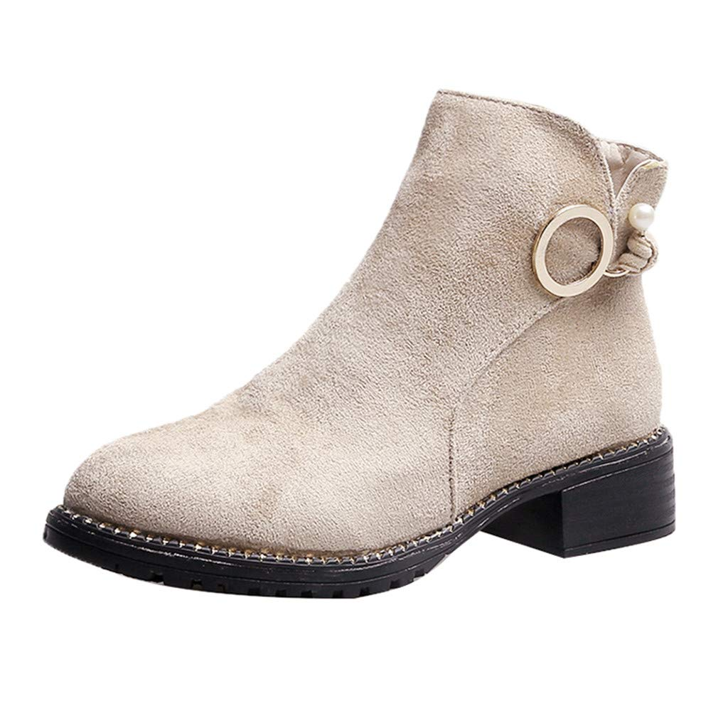 ❤Kauneus❤ Womens Round Toe Suede Ankle Booties Side Zipper Fashion Casual Low Heel Short Boots Beige by Kauneus Fashion Shoes