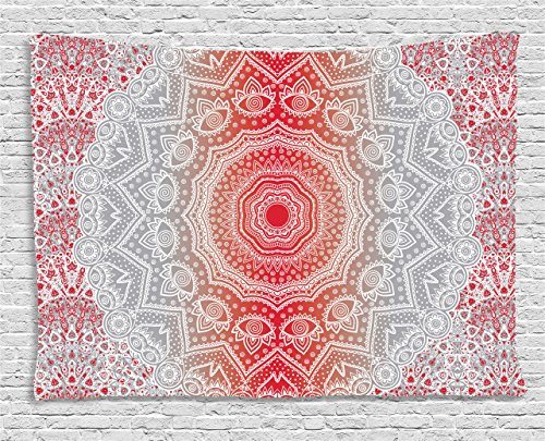 Eastern Tapestry Wall - Ambesonne Grey and Red Tapestry, Eastern Cultural Folk and Mystic Boho Ombre Mandala Art Design, Wide Wall Hanging for Bedroom Living Room Dorm, 80