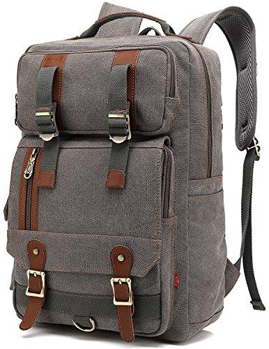 Faston Canvas Vintage Rucksack Rucksäcke Daypack Laptoprucksack für bis zu 14 zoll Laptop Notebook Schulrucksack Reiserucksack Wanderrucksäcke Taschen für Herren Damen grau