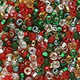 Czech Seed Beads 8/0 Mix Deck The Halls Christmas (1 Ounce)