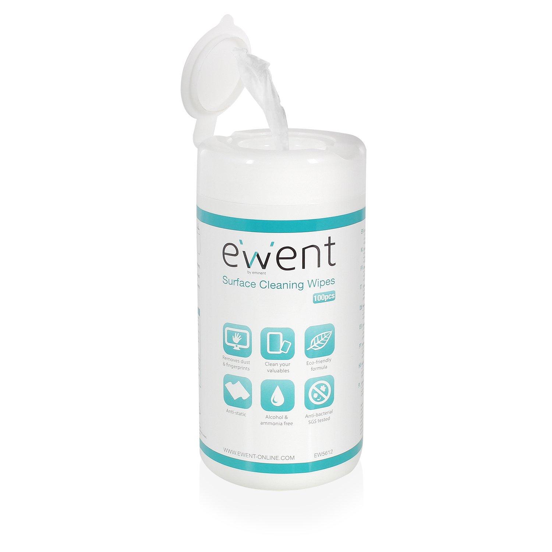 Ewent EW5612 (100 pezzi) Salviette umidificate per la pulizia di occhiali, Schermi LCD per computer, laptop, iPhone, iPad, Tablet, formula antistatica e antibatterica 62421-528602 SCHERMO