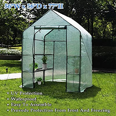 "Deluxe Green House 56"" W x 56"" D x 77"" H,Walk in Outdoor Plant Gardening Greenhouse?3 Tiers 6 Shelves by ENV"