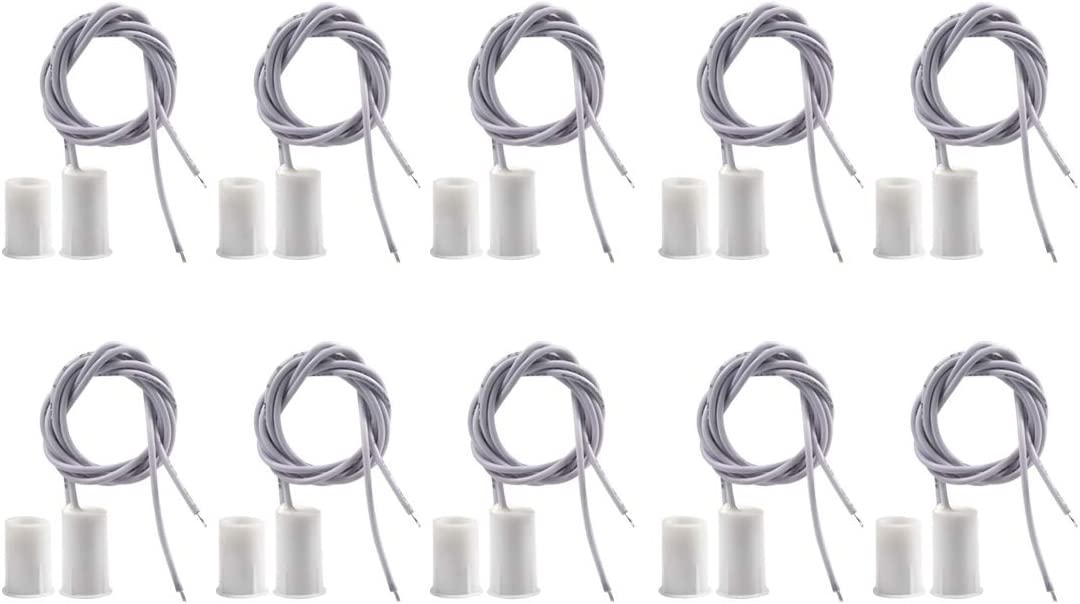 BNYZWOT RC-33 NC Recessed Wired Security Window Door Contact Sensor Alarm Magnetic Reed Switch White 10 Pair