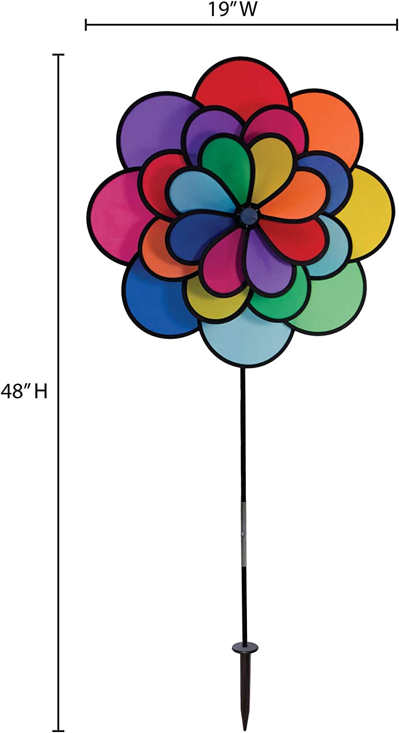In the Breeze Best Selling Triple Wheel Flower Colorful Wind Spinner for your Yard or Garden Ground Stake Included