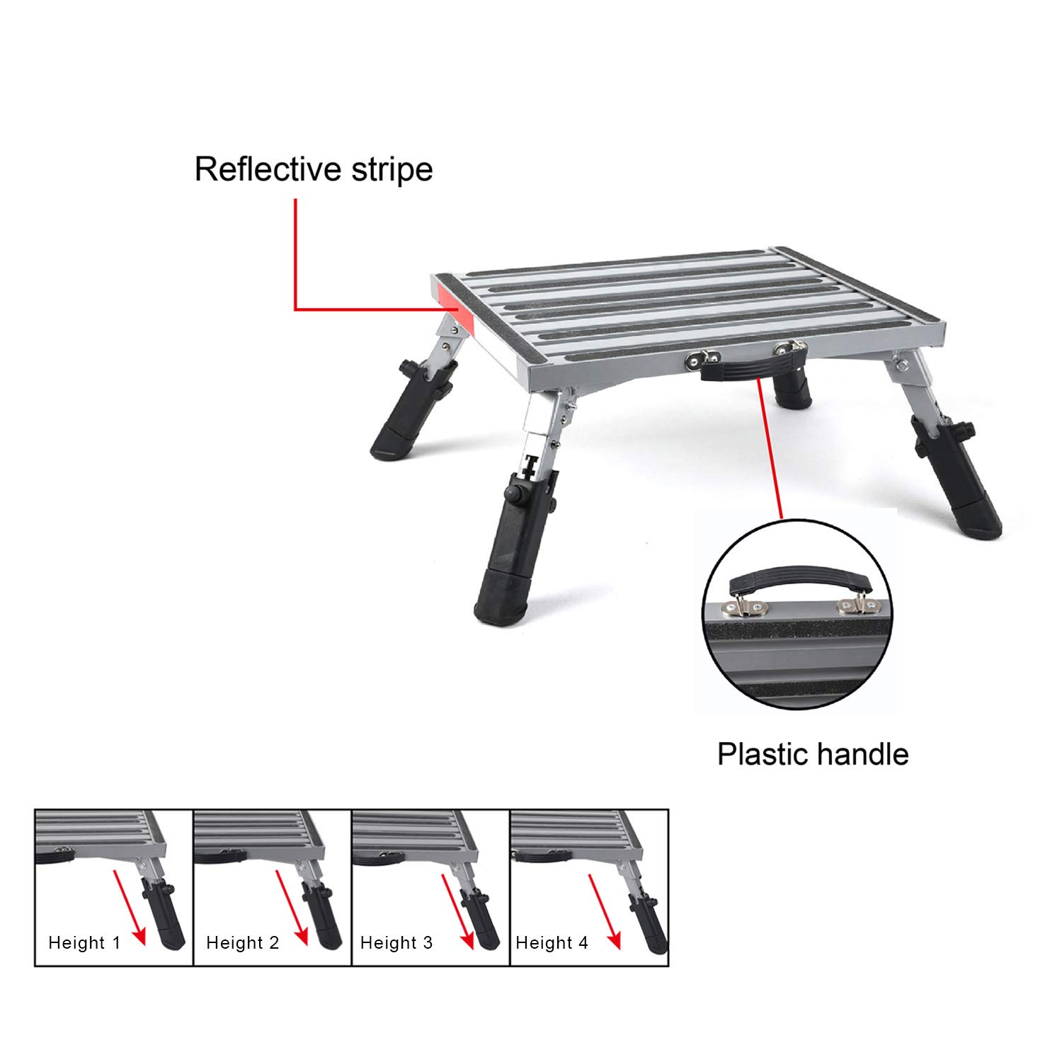 Pr1me 19'' x 14.5'' Extra Size RV Folding Step Stool, 440lbs, Height Adjustable, Aluminium with Reflective Stripe, Anti-Slip Surface and Extra Grip by Prime 1