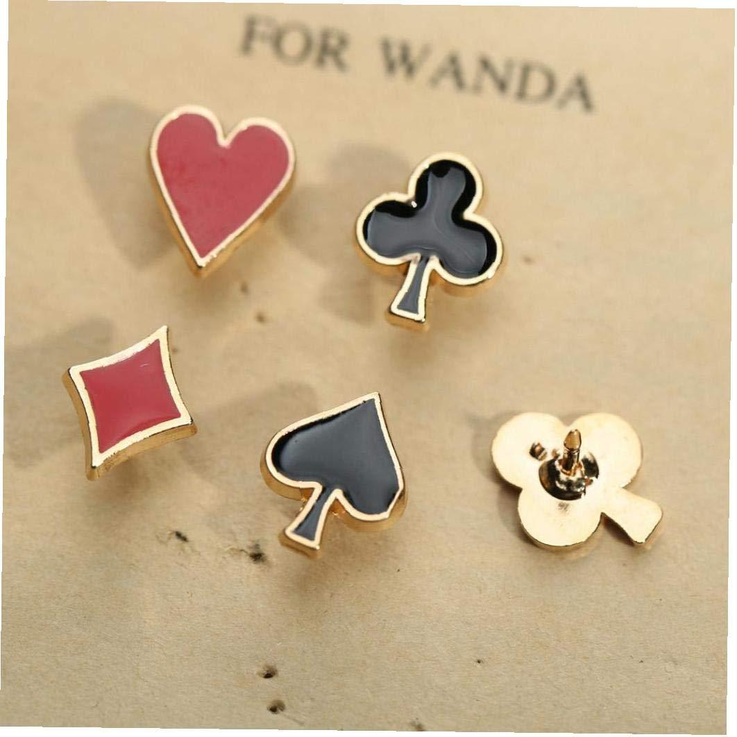 Set Poker Element M/étal Mat/ériel Petite Broche Broche Pique Rouge Peach Carr/é Pique Prune Fleur Collier Broche Applique Angoter 4pcs