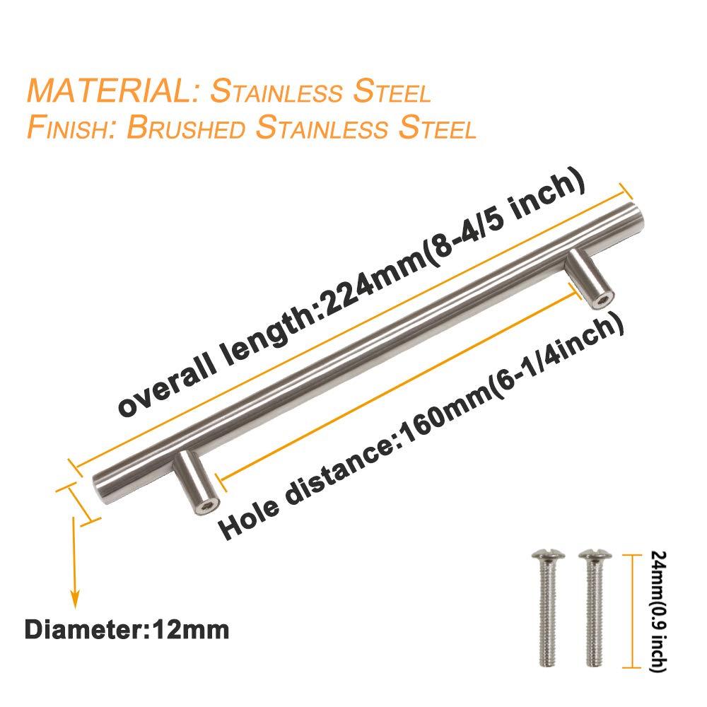 256 mm 160 mm 224 mm Probrico 9 tailles : 50 mm Boutons de portes en T pour meubles de cuisine 128 mm 192 mm 76 mm acier inoxydable 96 mm 64 mm