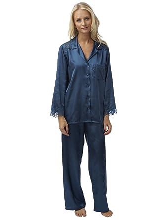 d8f84b329f Women s Classic Charmeuse Satin Pyjamas with Lace Trim (Blue 18 20 ...