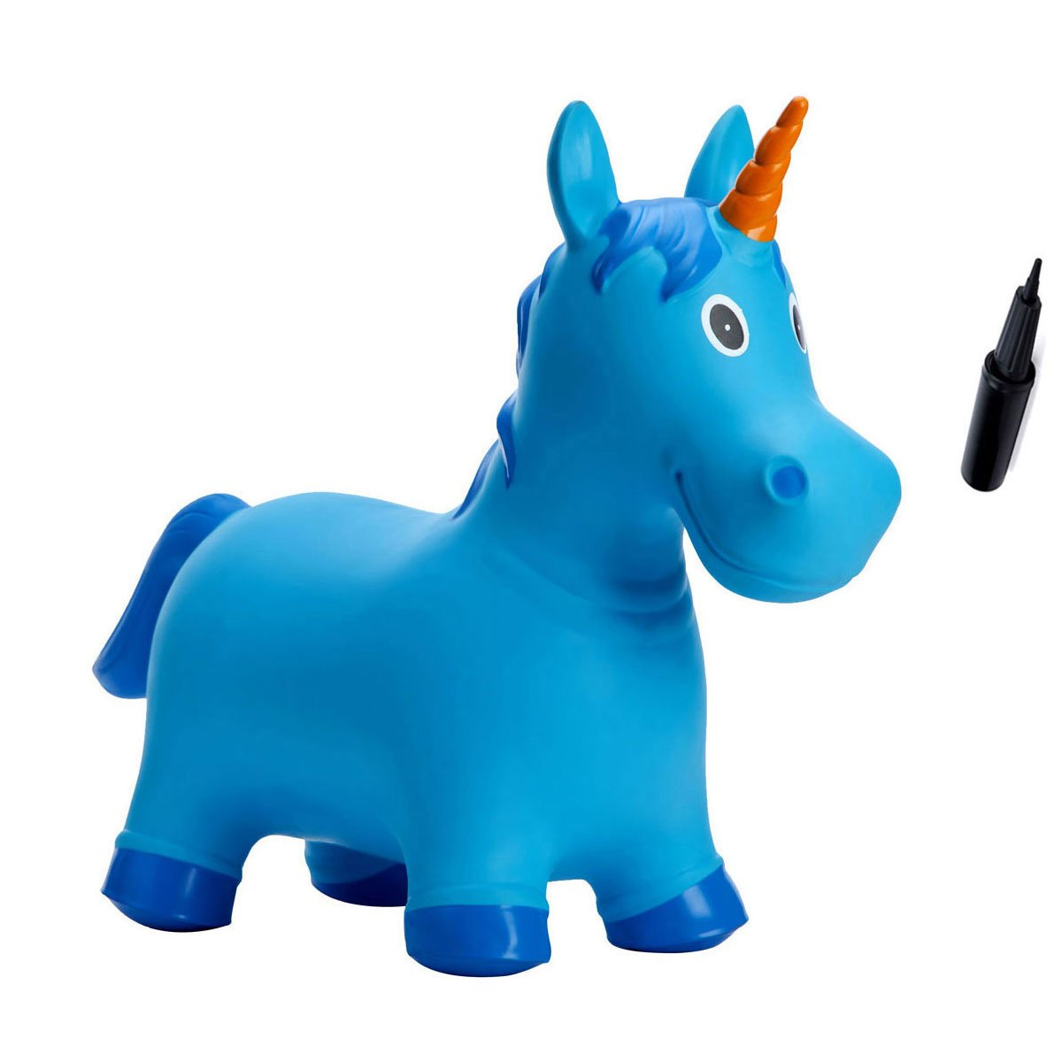 Babe Fairy Jumping Horse-Bouncy Horse Ride On Animals with Pump-Inflatable Unicorn Hopping Hopper For Girls and Boys-Bouncy Amials for Toddler-Best Lawn Game Toys(Sky Blue Unicorn)