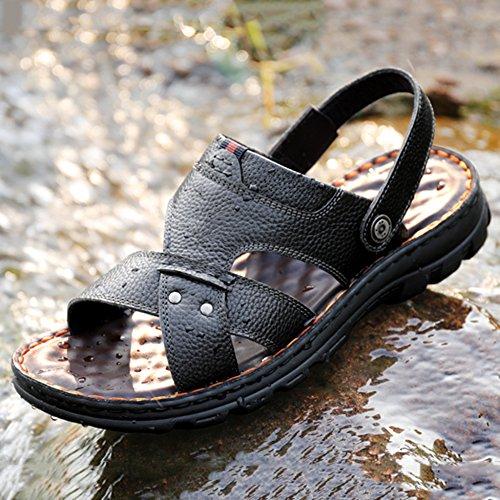 De Senderismo para Genuino Hombres Abierto Planas De Cuero De Sandalias Piscina Sandalias Dedo Aire Verano Zapatillas De Black Zapatos De Libre Playa Zapatillas Al Caminar De para MERRYHE qfxnPBX1tw