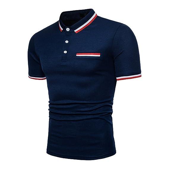 Juleya Camisas de Polo para Hombre Cuello de Costura Tops Raya de Algodón Tshirts Golf Rugby