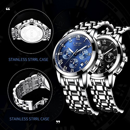 Watch,Mens Watches,Mens Fashion Stainless Steel Casual Waterproof Chronograph Quartz Wrist Watch