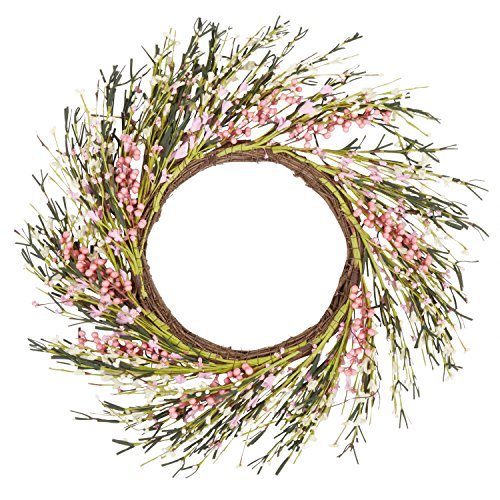 Wreath Twig Spiral - Flowers and Berries Spring Floral Wreath (White/Pink) Floral Spring Collection Spiral Wreath