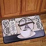Kitchen Floormats Sweet Home Collection Memory Foam Anti Fatigue Chef Design Kitchen Floor Mat Rug, Paris Cafe, 30