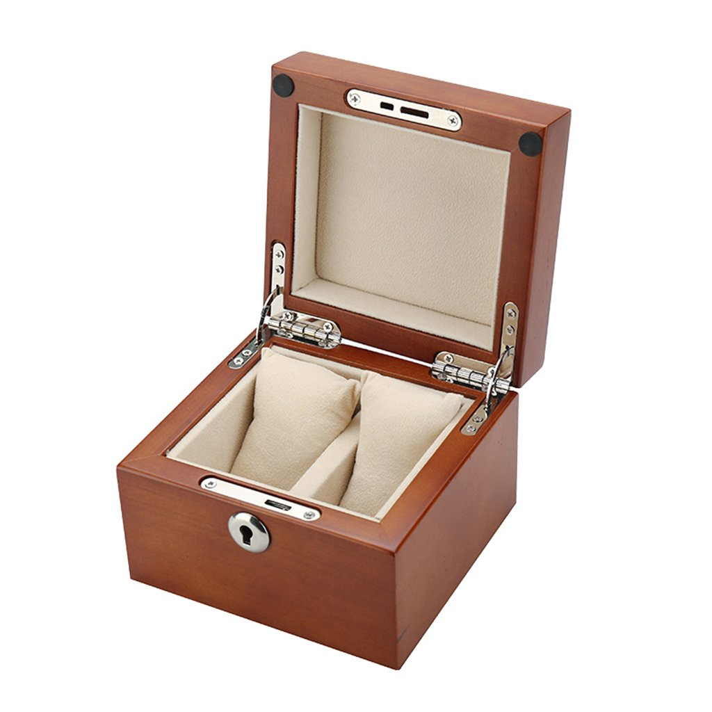 TGDY Watch Jewelry Storage Collection Display Gift Box Case Wooden Cherry Wood 2 Position (5.3 4.93.9Inch),Coffee