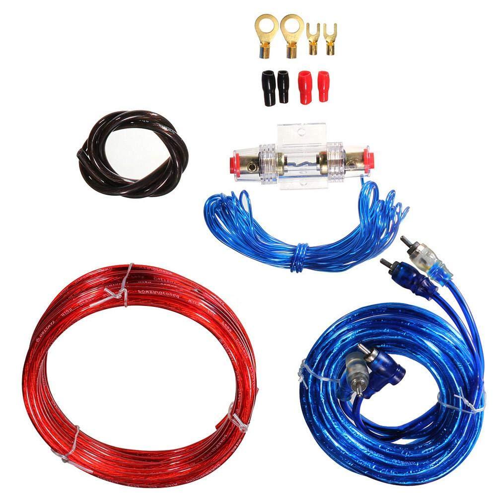 kit de coche Altavoz de sonido universal Amplificador de fusibles Amplificador cableado Cable de alambre Completo de coche Kit de cableado de amplificaci/ón Gauge para altavoces Kit de subwoofers