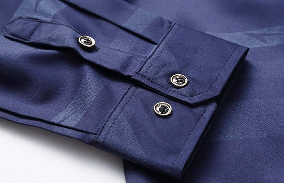 OTW Mens Striped Long Sleeve Buttons Formal Business Dress Shirts