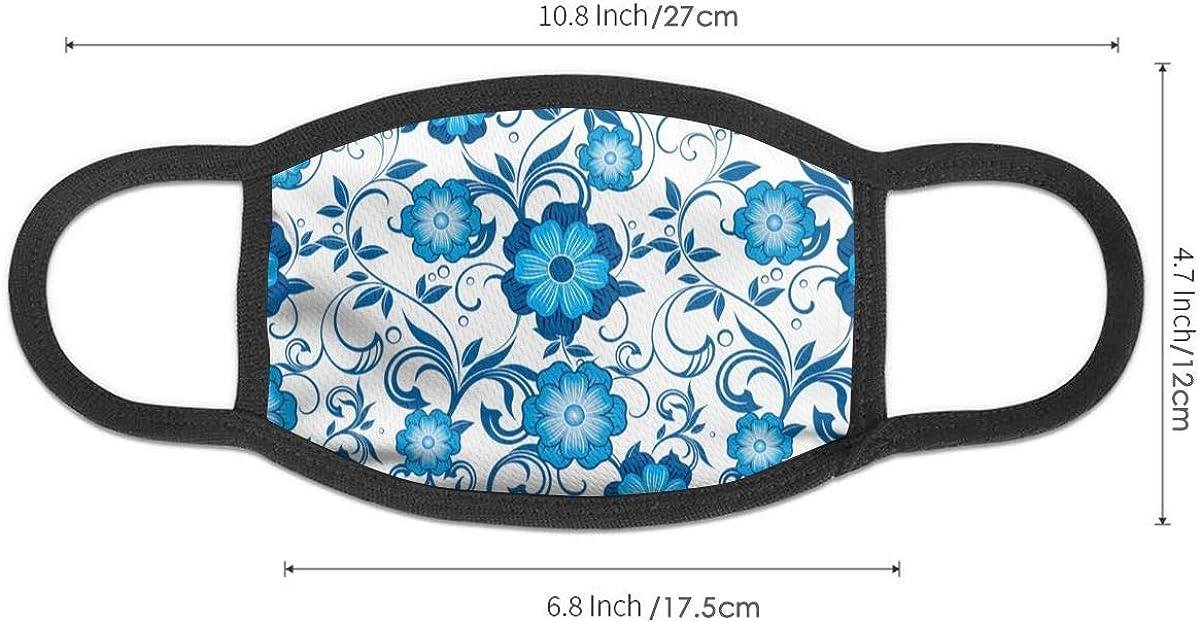 Hawaiian Blue and White Tropical Flowers Summer Neck Gaiters For Men Women Novelty Bandanas Hallowen Thanksgiving Gift