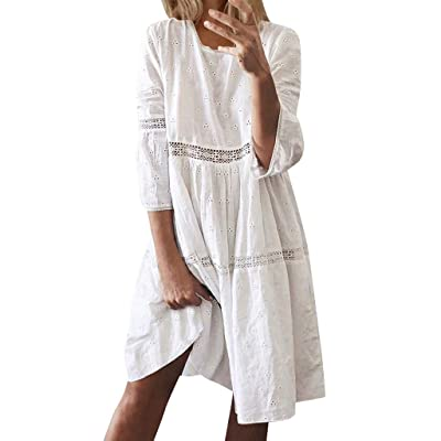 F_Gotal Women Summer Sundress Boho Plain Midi Dress High Waist Empire Lace Dress Hollow Out 3/4 Sleeve Swing Sundress at Women's Clothing store