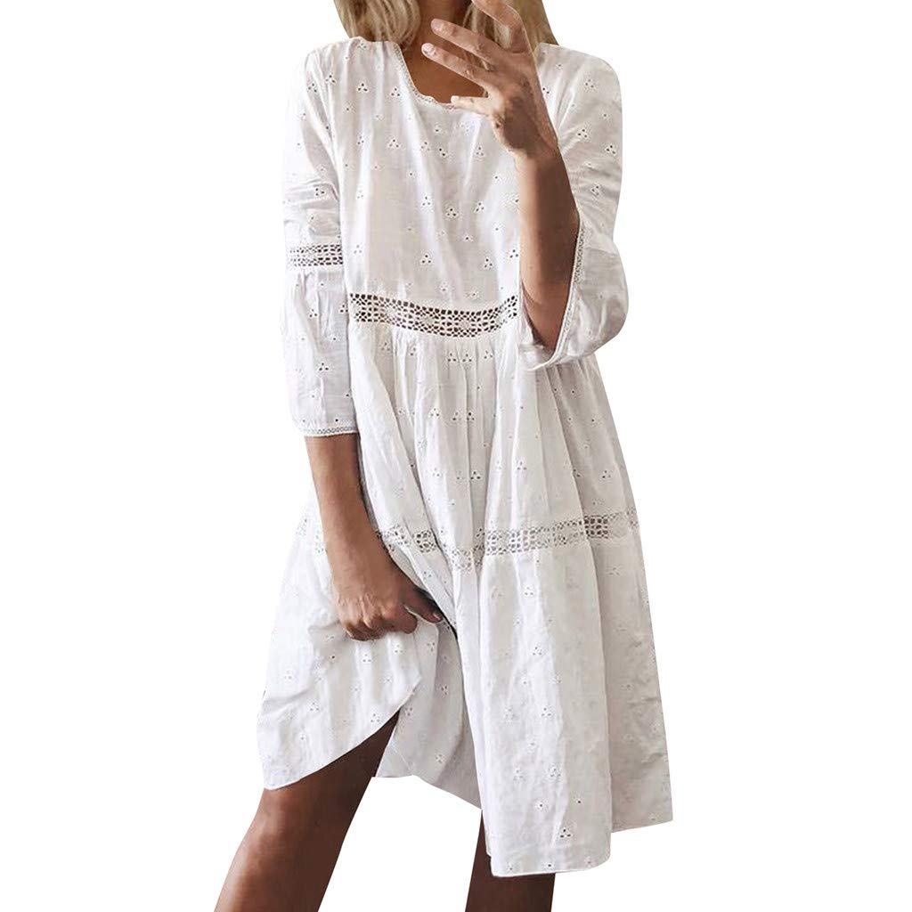 Aniywn Women's Loose Dresses 3/4 Sleeve Boho Solid Crew Neck Dress Ladies Solid Color Hollow Midi-Dress White by Aniywn