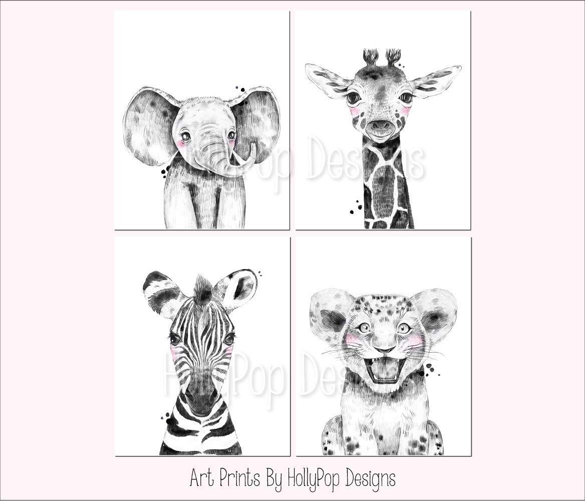 Amazon.com: Zoo Animal Nursery Art, Kids Room Decor, Baby Wall Prints, Safari Animals, Black White Nursery Decor, Animal Decor For Nursery, Elephant Giraffe Zebra Lion, SET OF 4 UNFRAMED ART PRINTS: Handmade
