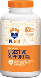 PL360 Digestive Support Chewable Supplements for Dogs, Beef & Cheese Flavor, 120 Count
