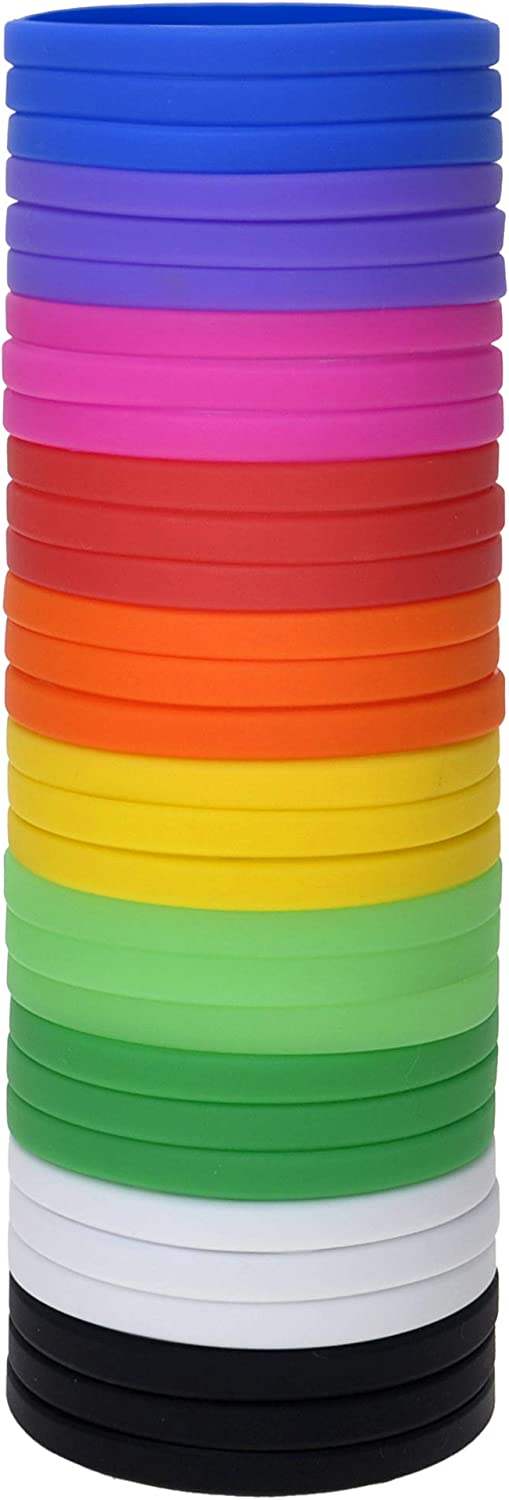 Muka 24 PCS Blank Silicone Wristbands for Adults Party Colored Rubber Bracelets