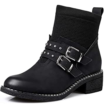 5d3e56c5242 CC Women's Boots Autumn And Winter High To Help Thick Heel Shoes ...
