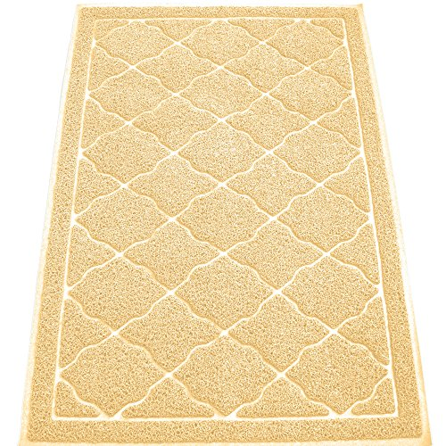KW Pets Non-Toxic Cat Litter Mat, Extra Large (35 x 23-Inch), Light (Cat And Laser Pointer Costume)