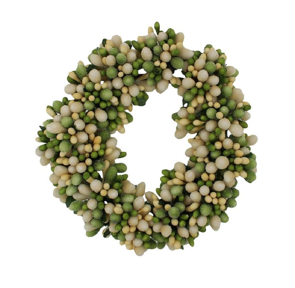 Set of 2 (Two) 3-inch (1.2-inch Inner Ring) Beaded Berry Wreath Candlering Candle Napkin Ring Green Cream Raz