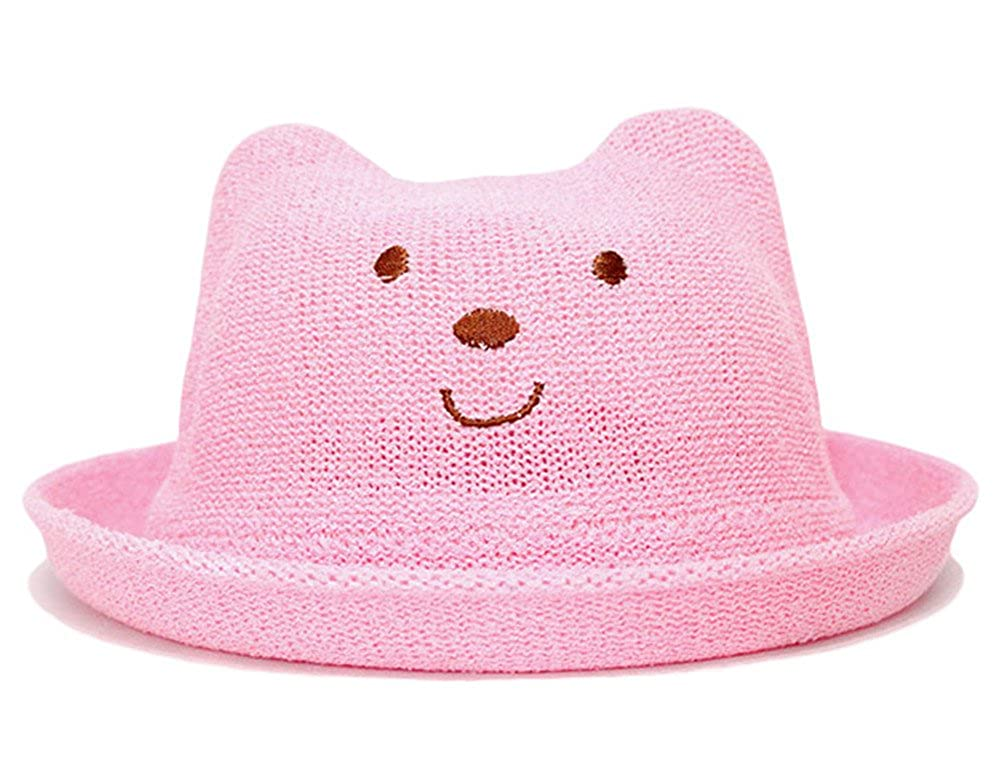 Roffatide Kid Cute Bear Embroidery Mesh Summer Bowler Hat Boys Girls Derby Fedora Caps with Roll-up Brim
