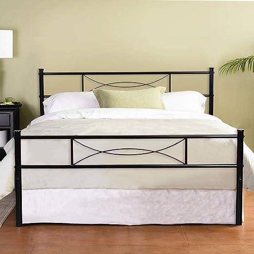 Amazon Com Hago Black Platform Metal Bed Frame With Headboard
