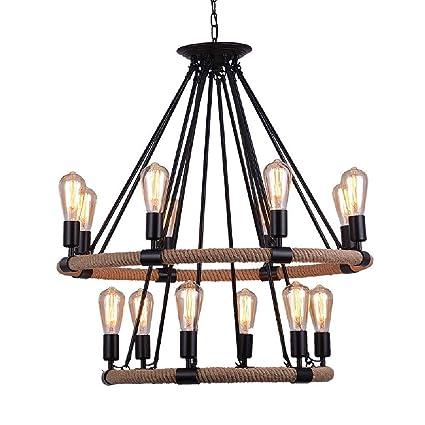 COCOL Lámpara Colgante de luz de Techo, lámpara de Techo de cáñamo Industrial Retro Lámpara Colgante de lámpara de Cuerda de Metal Lámpara de ...
