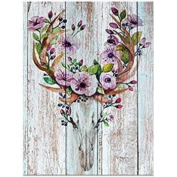 Visual Art Decor Flowers Blossom Deer Skull Canvas Wall Decor Dual View Picture on Wood Background Prints for Bedroom Wall Decor (16