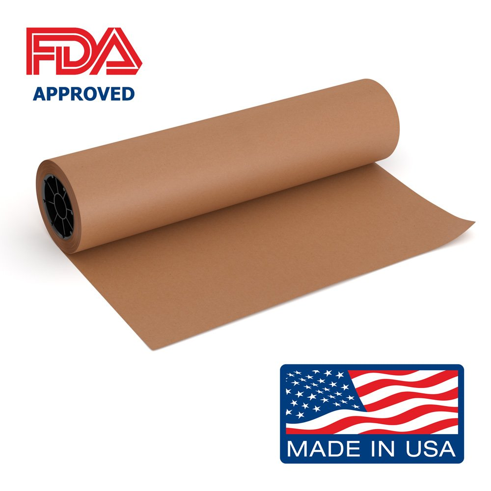 Pink Kraft Butcher Paper Roll - 18 Inch x 175 Feet (2100 Inch) - Food Grade FDA Approved – Great Smoking Wrapping Paper for Meat of all Varieties – Made in USA – Unwaxed and Uncoated
