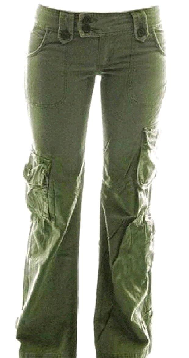 5fb0c1135e Top14: Winwinus Womens Leisure Stylish Pocket Plus-Size Low Waist Wide Leg  Flare Cargo Pants