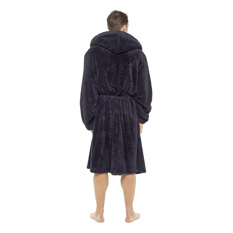 Foxbury Mens Supersoft Hooded Shaggy Fleece Bathrobe Dressing Gown Black  House Coat Lounge Robe Black Grey  Amazon.co.uk  Clothing 14ef1ffb0