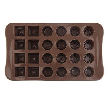 Moldes de chocolate con 24 agujeros para chocolate y rejillas sólidas para hornear chocolate: Amazon.es: Hogar