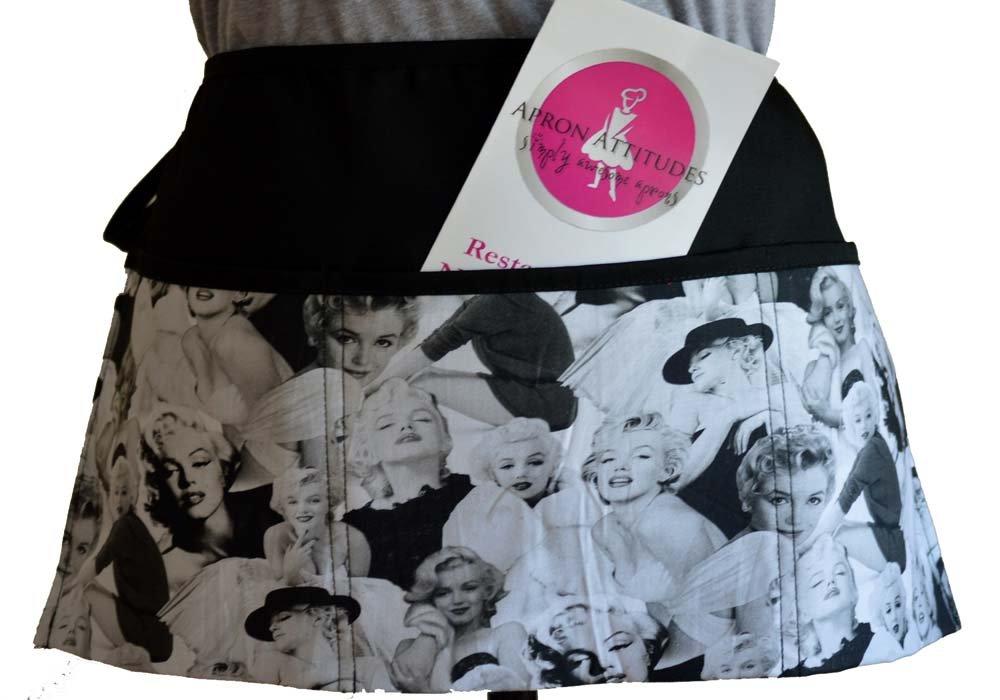 Marilyn Monroe Apron Prints Black and White Flirty Waiter Waitress Kitchen Cooking Apron,100% Cotton Fabric Apron with 3 Pockets Marilyn Monroe Apronattitudes