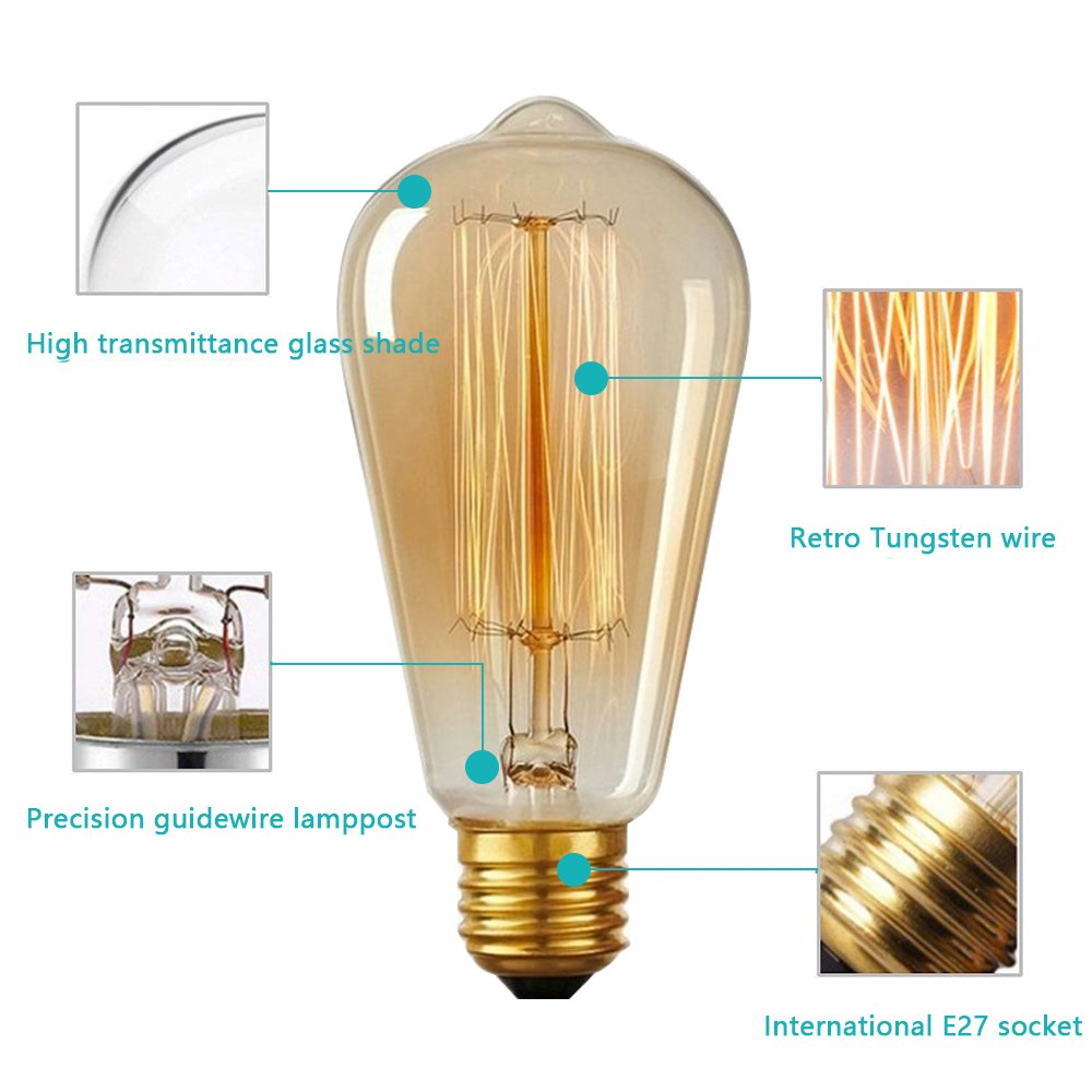 Pack of 6 GogoTool Edison Vintage Light Bulb 40W E27 2700-2900K Dimmable 340LM Retro Vintage Antique Light Bulb Ideal for Nostalgia and Retro Lighting in The House Caf/é Bar etc