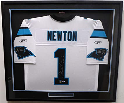 9740a370d Carolina Panthers Cam Newton Signed Auto Framed White Reebok Jersey 11  R.O.Y. (Damaged) -