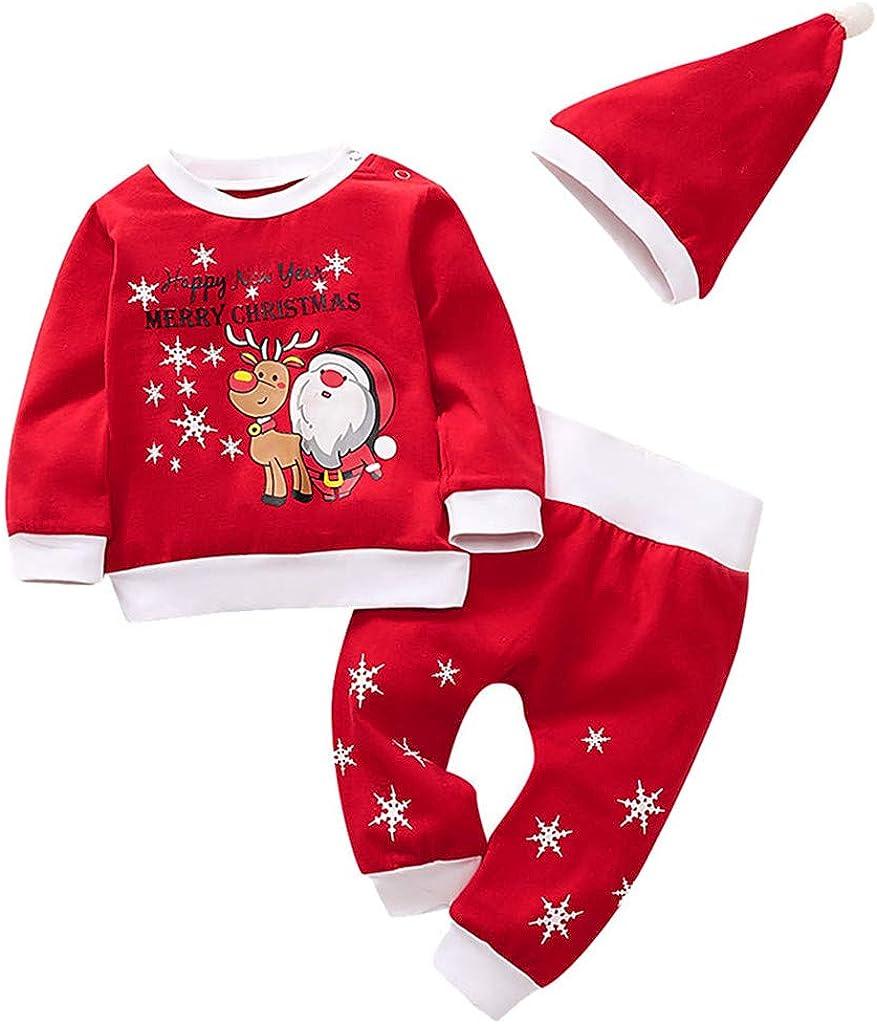 FOLOU Christmas Outfits Baby Boys Girls Christmas Pajamas Toddler 3 Pieces Pants Set Sleepwear Christmas Hat