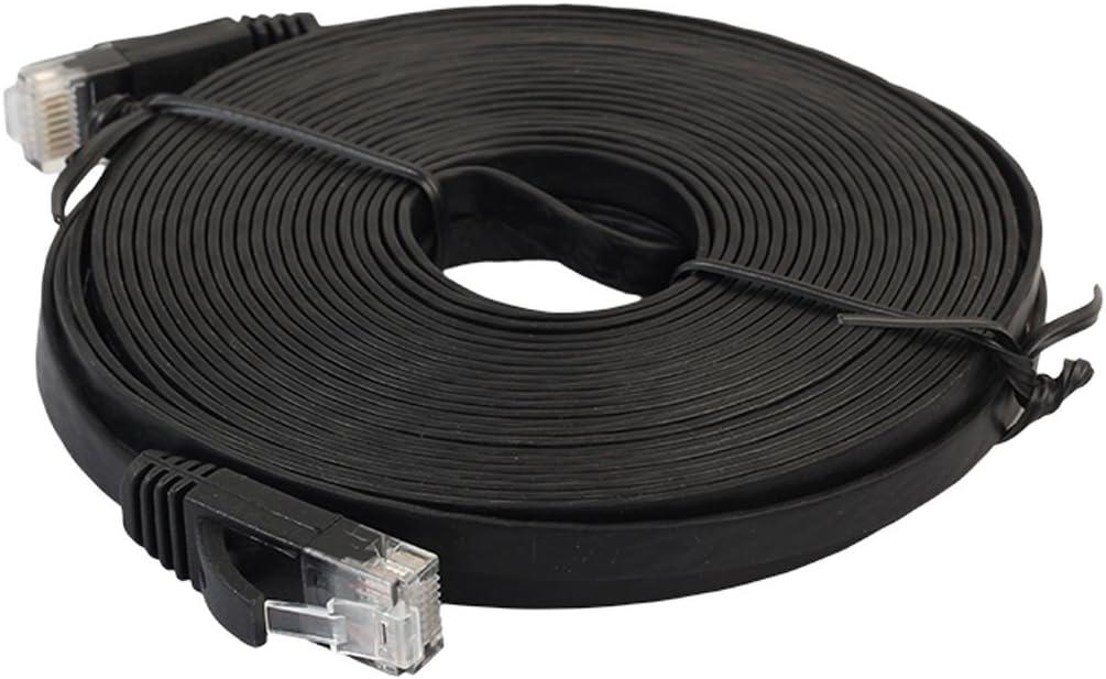 Color : White JINYANG 15m CAT6 Ultra-Thin Flat Ethernet Network LAN Cable Black Patch Lead RJ45