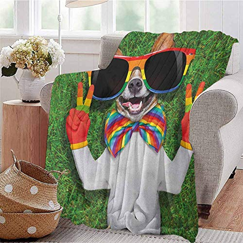 Luoiaax Pride Commercial Grade Printed Blanket Funny Face Gay Dog Lying on Green Grass with Peace Signs and Giant Sunglasses Humor Queen King W60 x L50 Inch Multicolor