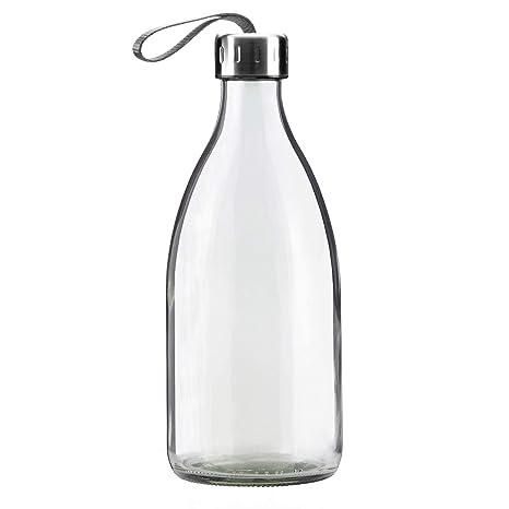 Botella de vidrio transparente de 1 litro para la nevera . Sin BPA – 100%